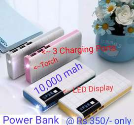 New 10000 mah Power Bank with 3 USB Ports n LED Torch