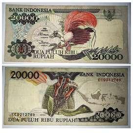 Uang kertas lawas Cendrawasih 20 ribu rupiah th1995