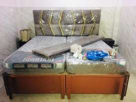 King size designer double bed with side tables for sale