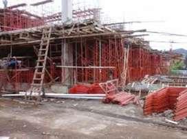 konstruksi proyek dengan scaffolding