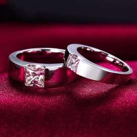Custom Cincin Kawin Couple Terbaik Bahan Silver