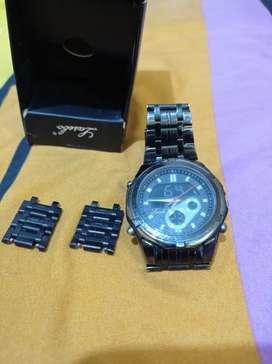 Jam tangan lasebo 965 dual time analog & digital stainless steel