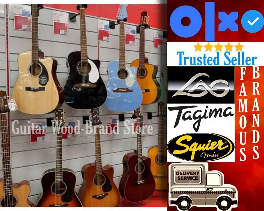 u.s.a made double plai wood guitars with frer accesories 0