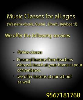 Music Classes for all ages (Western vocals, Guitar , Drum , Keyboard)