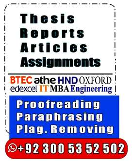 ►Proofreading ►Plagiarism Removal ►Writing •Thesis •HND MBA Assignment