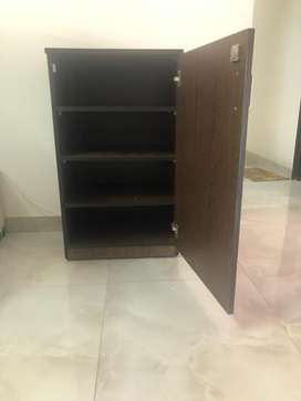 Wooden cabinet with shelves inside