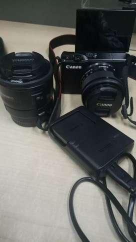 Kamera Canon EOS M10 w/ Lensa Fix 50mm Yongnuo