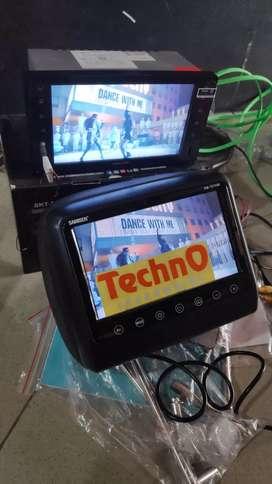 Tv mobil paket sound + tv headrest jok sandaran mobil 2 pcs