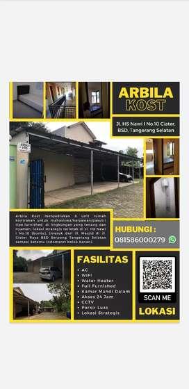 ARBILA KOST -  8 unit, furnished, tenang & parkir  (ada WIFI)