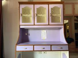 Study table , 3 drawers , 3 almirahs with glass