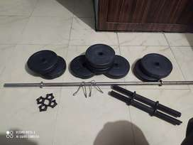 Gym set with 4 feet rod 16 kg weight with 2 pair of dunble set