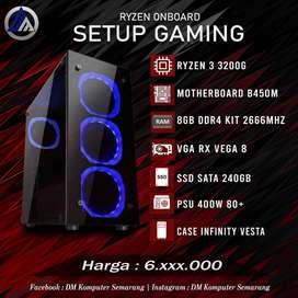 PC Gaming Onboard Ryzen 3 3200G VGA Onboard RX Vega 8 SSD 240GB Ready
