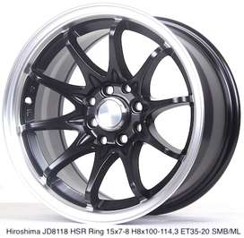 Jual pelek HIROSHIMA JD8118 HSR R15X7/8 H8X100-114,3 ET35/20 SMB/ML