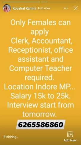 Only females can apply  accountants,Receptionist, wtc
