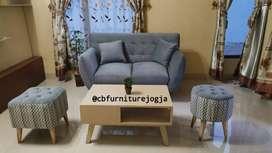 Sofa minimalis, paket hemat stool kancing