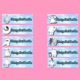 Sticker nama untuk buku sekolah, wadah makan anak, dll