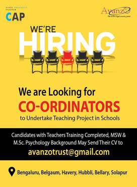 Want coordinators to undertake teaching project in schools
