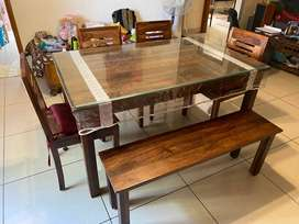 Six Seater Wooden Dining Table Set with 10 mm Glass Top