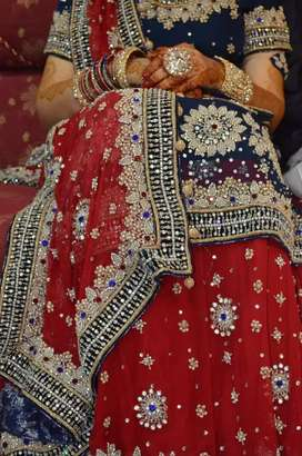 Red and blue lehnga