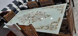 New Glass Top Six Chairs Dining Set At Sharma Furniture