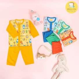Mungil pakaian anak set S-1-007 1-2 thn orange