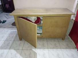 Wooden table 4-1/2 feet x 1-1/2 feet (two shelfs) strong and good