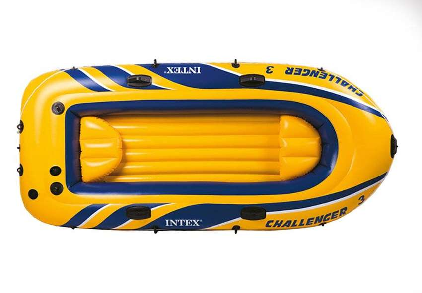 Intex Challenger 3 Inflatable Raft Boat Set With Pump And Oars | 68370 0