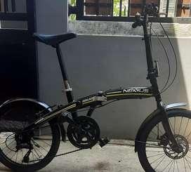 Sepeda lipat murah bahan alumunium ad cakram, bel (bonus pompa) NETT