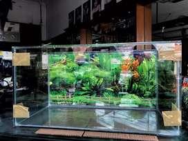 Pahe aquarium + background. Tinggal isi ikan.
