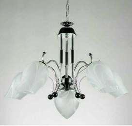 lampu hias gantung dekorasi ruang tamu minimalis 6666/5+1 bkch+w ID35