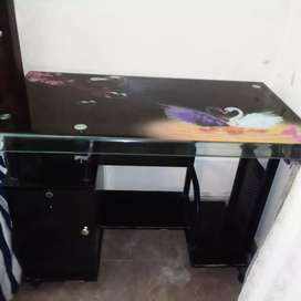 Computer table black glass imported