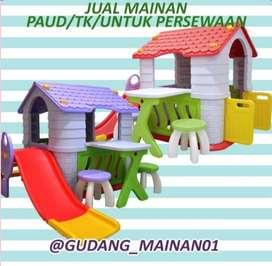 mainan playground rumah-rumahan, perosotan dan kursi goyang murah
