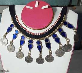 beautiful necklace with coins blue stone necklace for women
