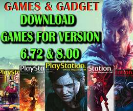 We download games in ps4  5.05 6.72 and 8.00