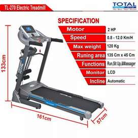 treadmill elektrik total TL-270 Y-011 electric treadmil alat fitnes
