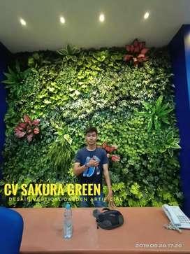 Dekorasi Dinding Vertical Garden Tanaman Sintetis Tanpa Perawatan