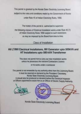A class electrical supervisor permit  500kVA  Licence