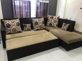 3+2 Sofa Cum Bed L-Shaped 2 Yrs old