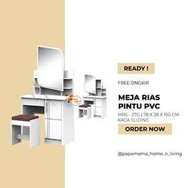 Meja Rias Kaca Sliding Milea - Meja Rias Putih PVC Kaca Sorong