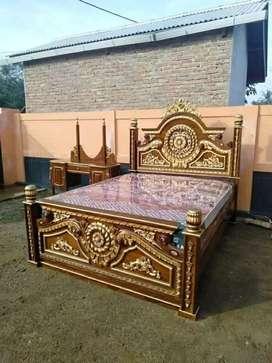 Tempat tidur asli kayu jati