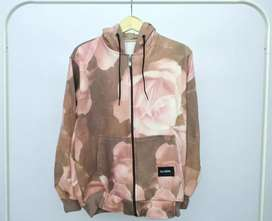 Jaket sweater Hoodie bunga peach