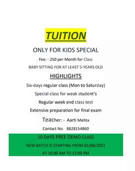 New batch for tuition clasaes