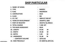 Jual kapal tongkang 300 feet 2005 condisi good