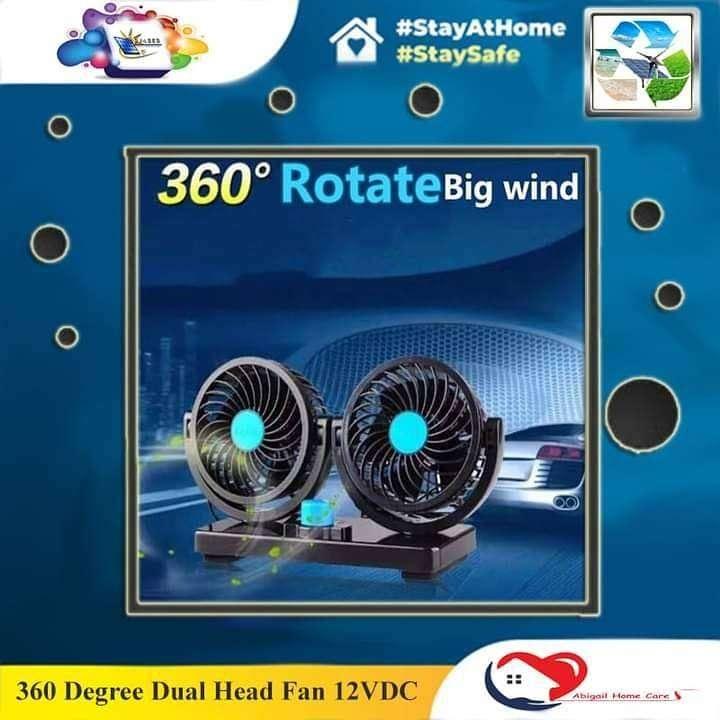 360 Degree Dual Head Fan 12VDC