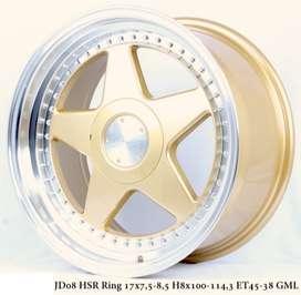 VELG RACING HSR R17X75/85 H8X100-114,3 ET45/38 GOLD/ML