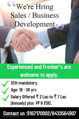Walk In for Sales / Business Development @ Salary 7LL