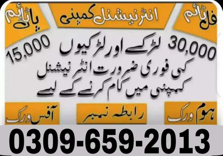 Urgent Staff Required for Office Work/Home Base/Full Time/Part Time