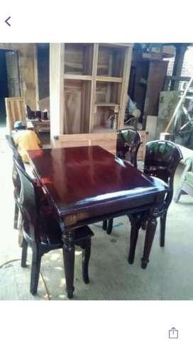 Meja makan kayu jati sandaran lengkung