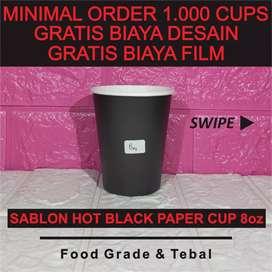 Sablon Black Paper Cup 8 oz