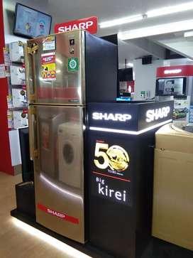 Kulkas sharp 2 pintu bisa kredit tanpa dp bayar admin saja 199k